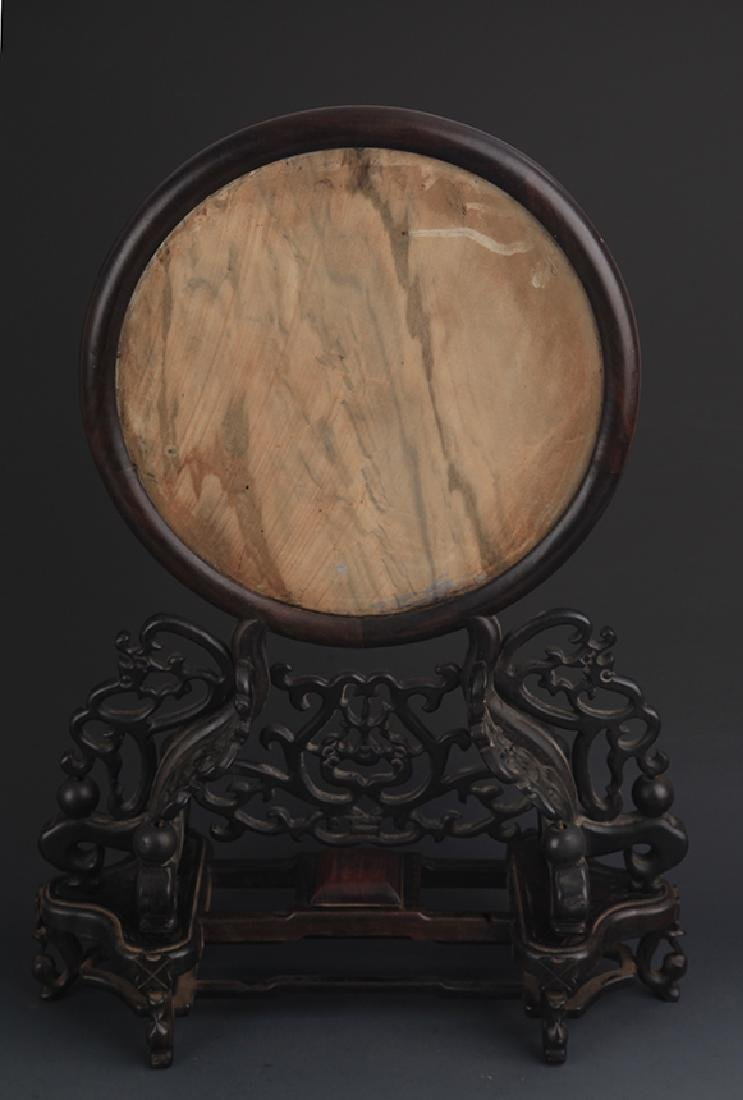 A SANDALWOOD TABLE PLAQUE INLAY WITH STONE PANEL - 4