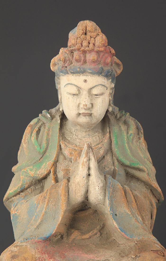 A CARVED AND PAINTED MANJUSRI BUDDHA - 2