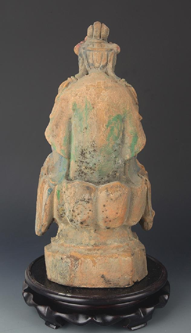 A CARVED AND PAINTED MANJUSRI BUDDHA - 4