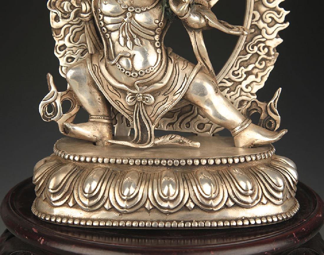 TIBETAN BUDDHISM WHITE BRONZE VAJRAPANI STATUE - 3
