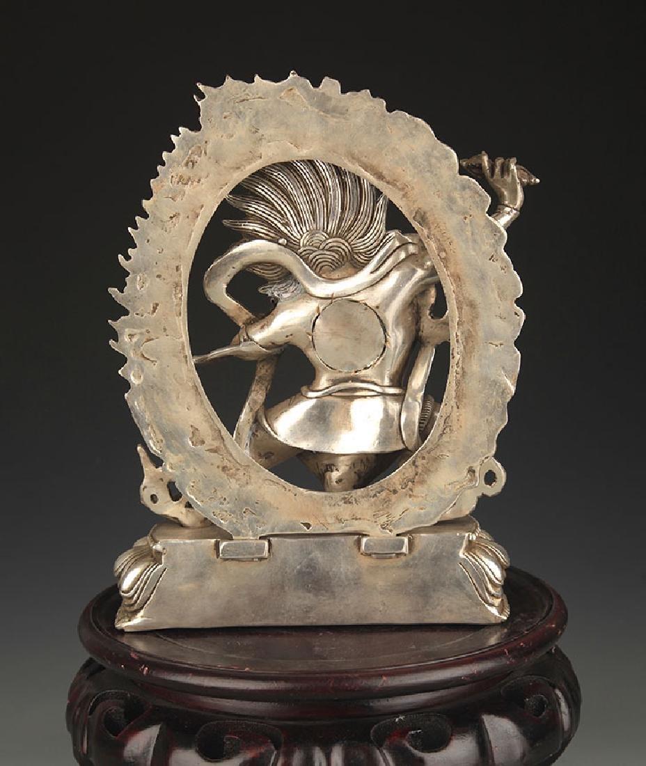 TIBETAN BUDDHISM WHITE BRONZE VAJRAPANI STATUE - 4