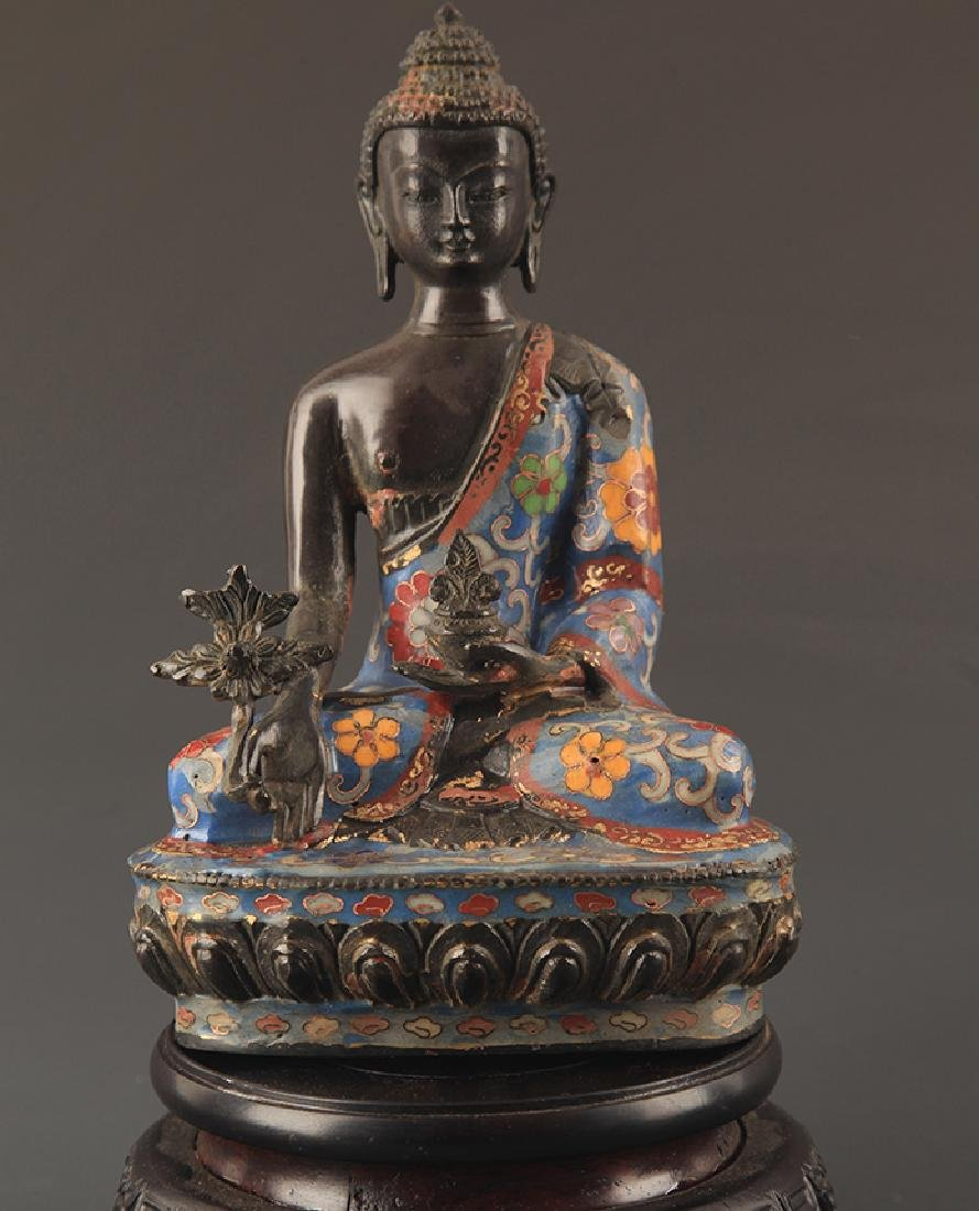 CLOISONNE ENAMEL BHAISAJYAGURU BUDDHA STATUE