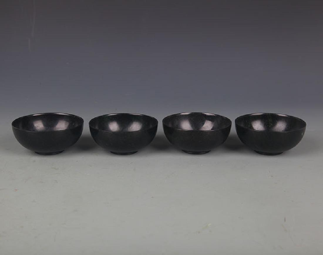 SET OF FOUR FINE JADE CUP