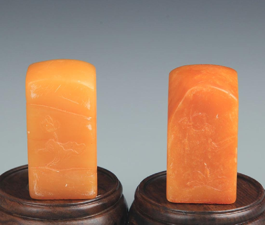 PAIR OF SHOUSHAN STONE SEAL