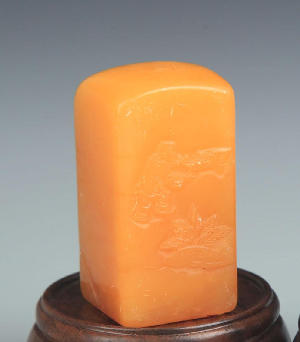 PAIR OF SHOUSHAN STONE SEAL - 3