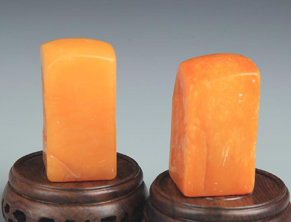 PAIR OF SHOUSHAN STONE SEAL - 5