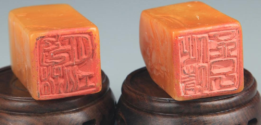 PAIR OF SHOUSHAN STONE SEAL - 6
