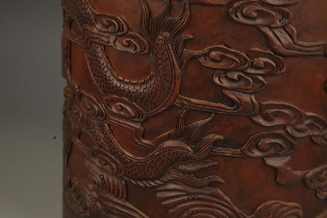 A FINE DRAGON CARVING BRUSH HOLDER - 3