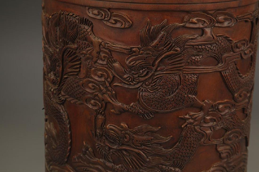 A FINE DRAGON CARVING BRUSH HOLDER - 5