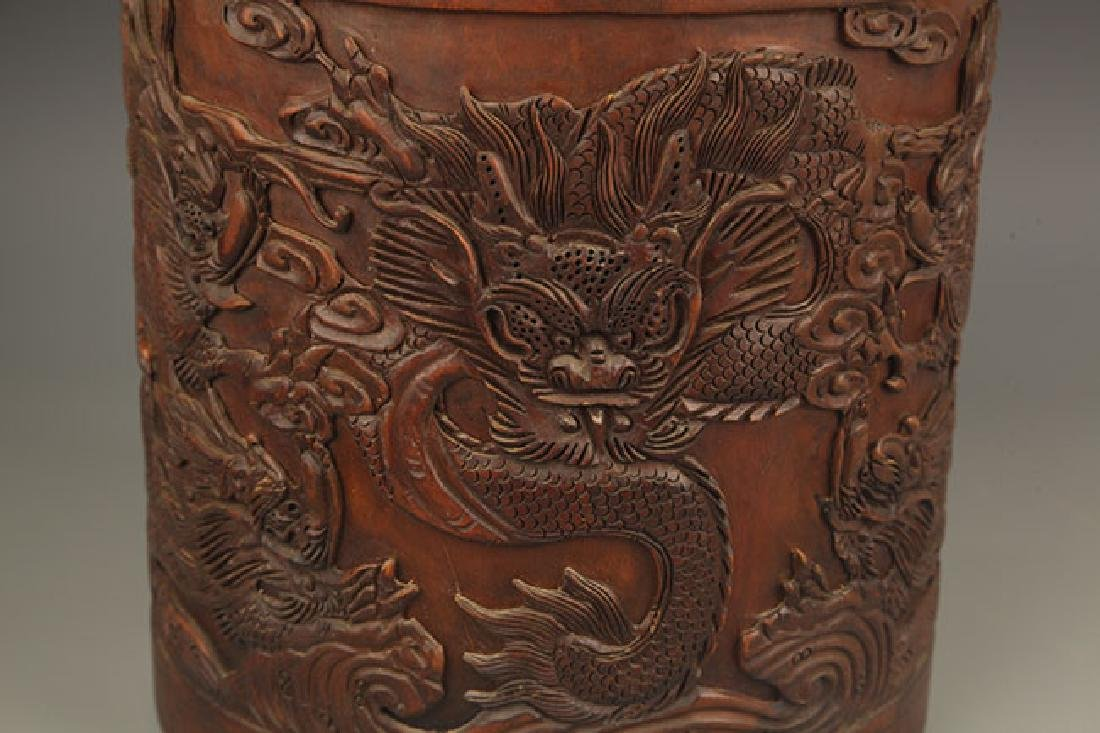 A FINE DRAGON CARVING BRUSH HOLDER - 6