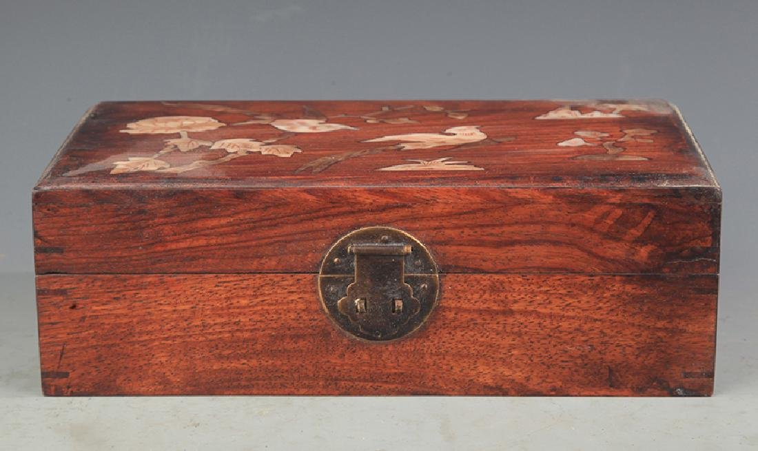 A FINE HUA LI MU EMBEDDED JEWELRY BOX