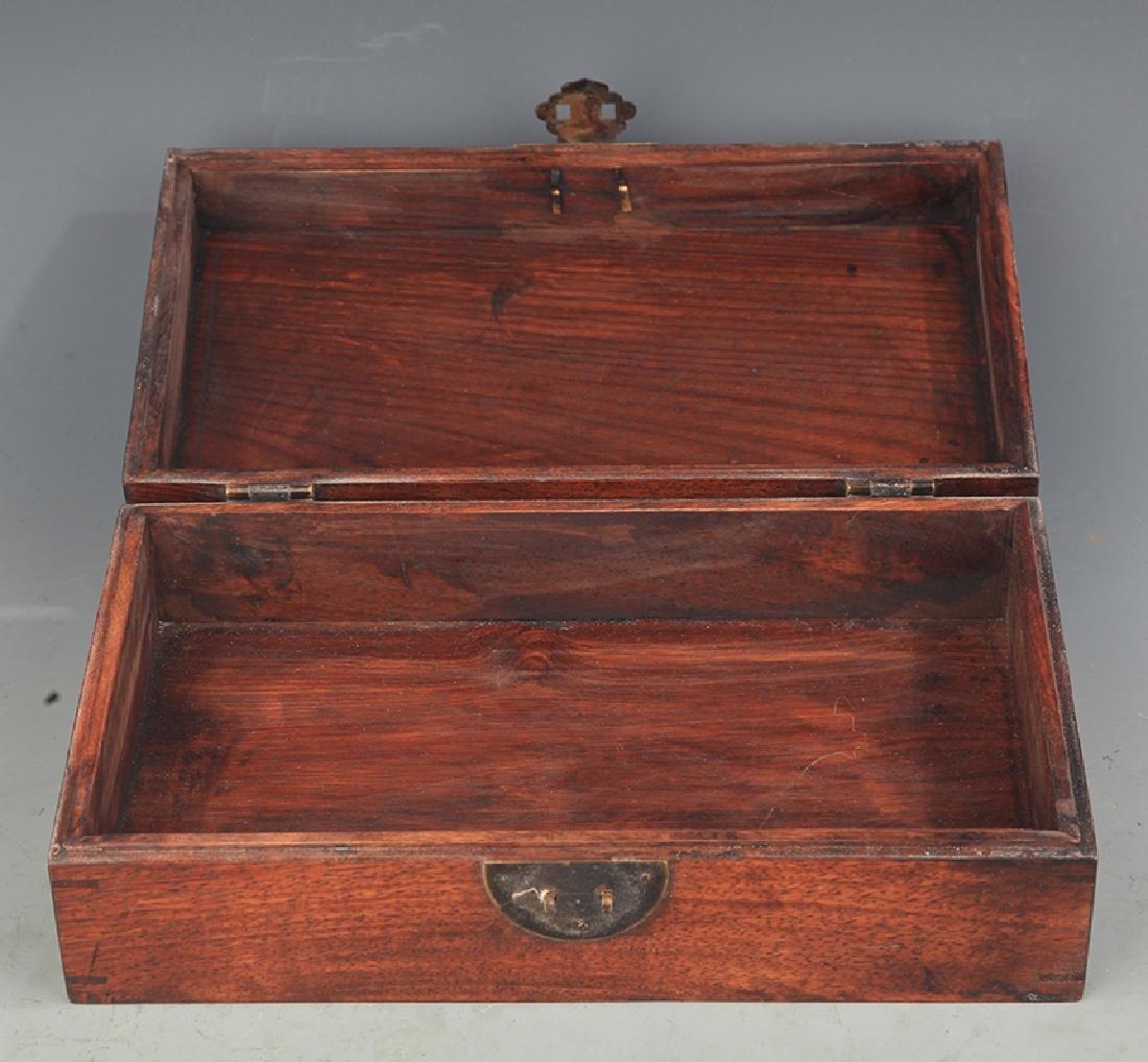 A FINE HUA LI MU EMBEDDED JEWELRY BOX - 3