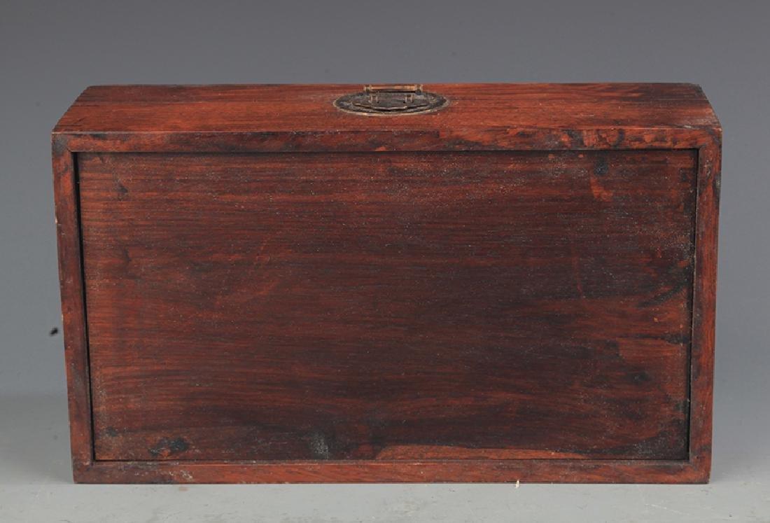 A FINE HUA LI MU EMBEDDED JEWELRY BOX - 4