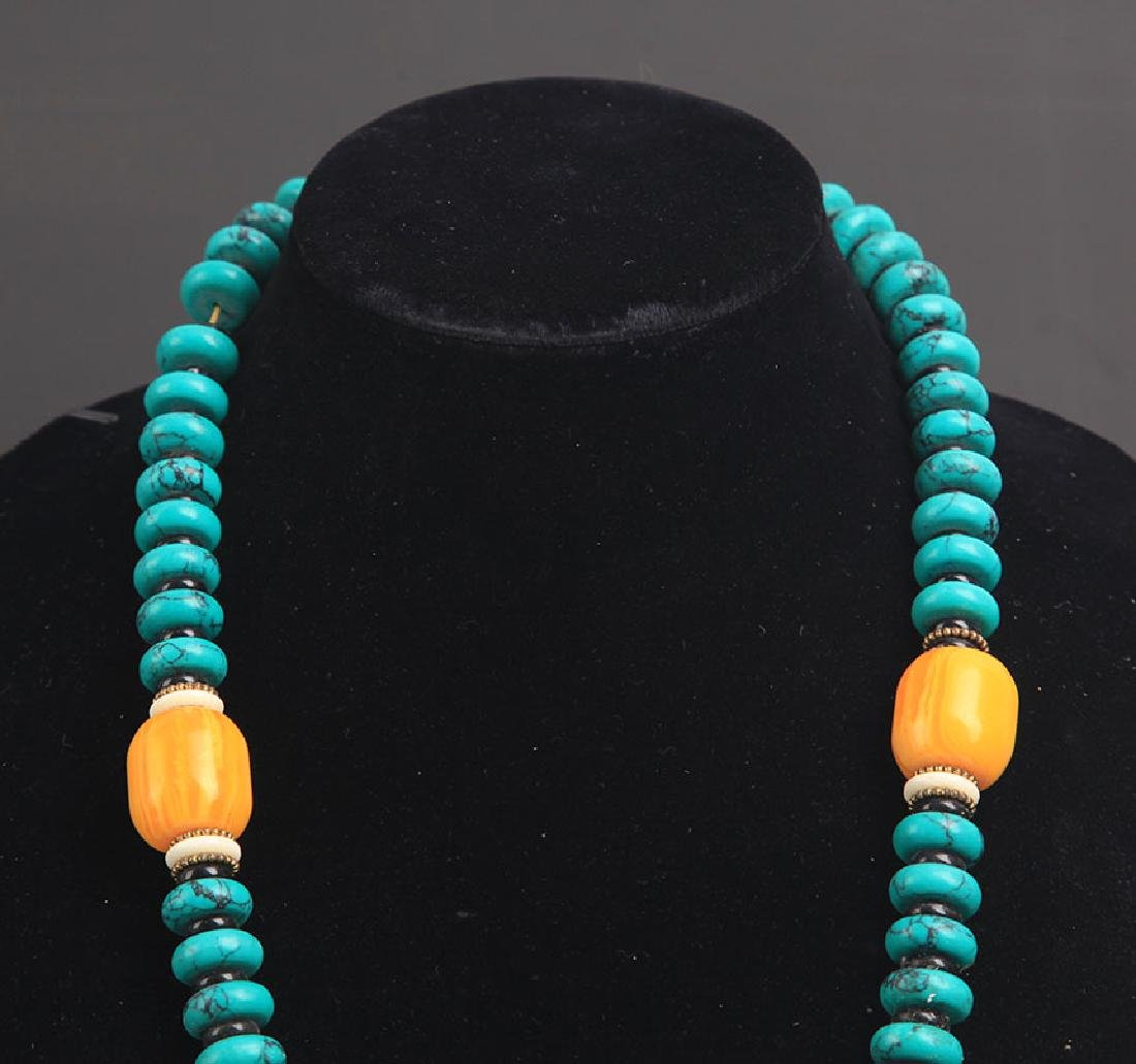 A TURQUOISE WITH BEE WAX NECKLACE - 2