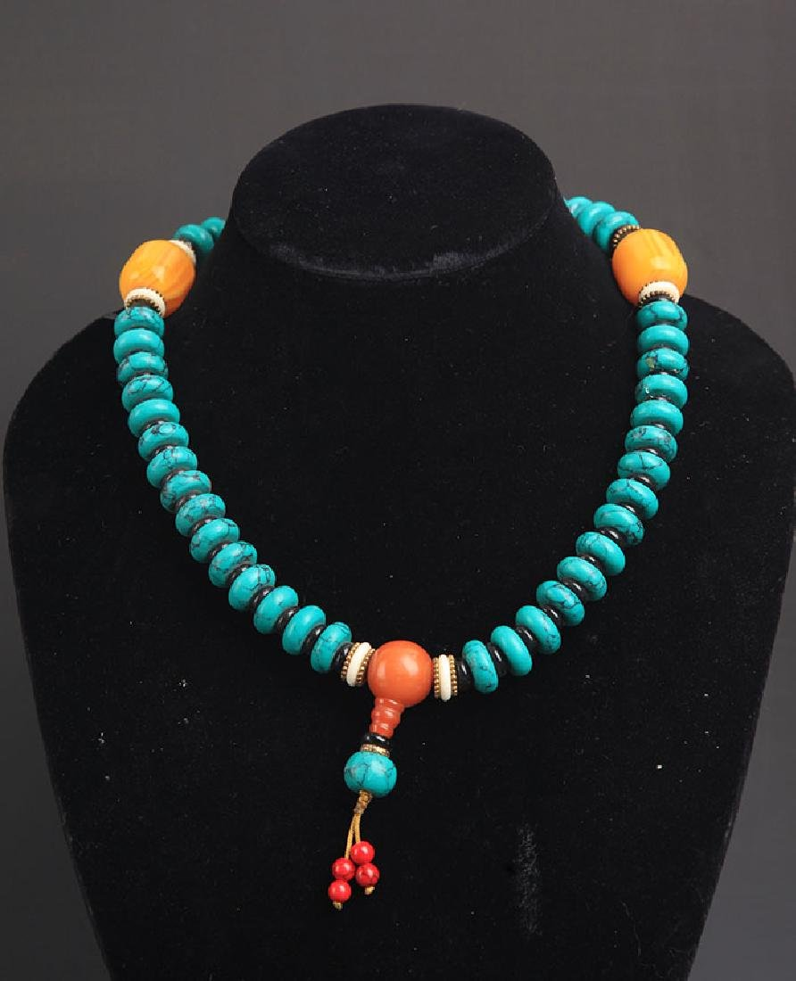 A TURQUOISE WITH BEE WAX NECKLACE - 4