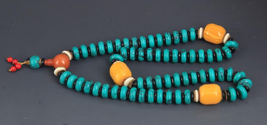 A TURQUOISE WITH BEE WAX NECKLACE - 5