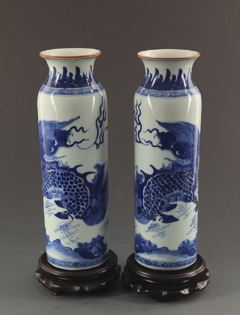 PAIR OF BLUE AND WHITE KYLIN PORCELAIN JAR