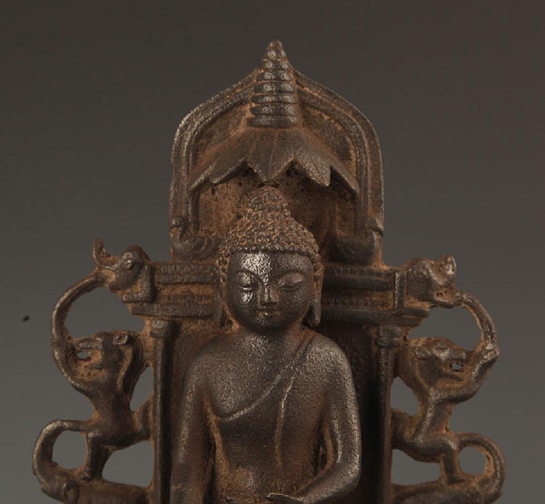 A CAST IRON AKSHOBHYA BUDDHA STATUE - 2