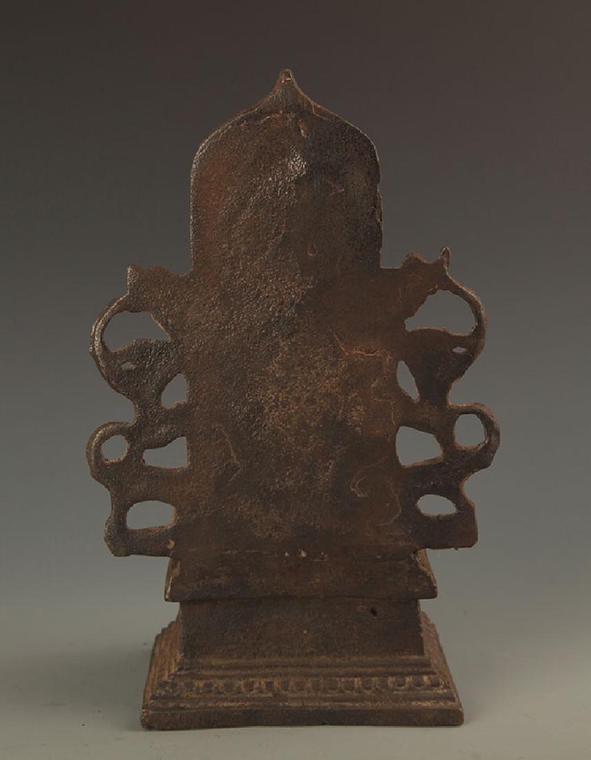 A CAST IRON AKSHOBHYA BUDDHA STATUE - 4