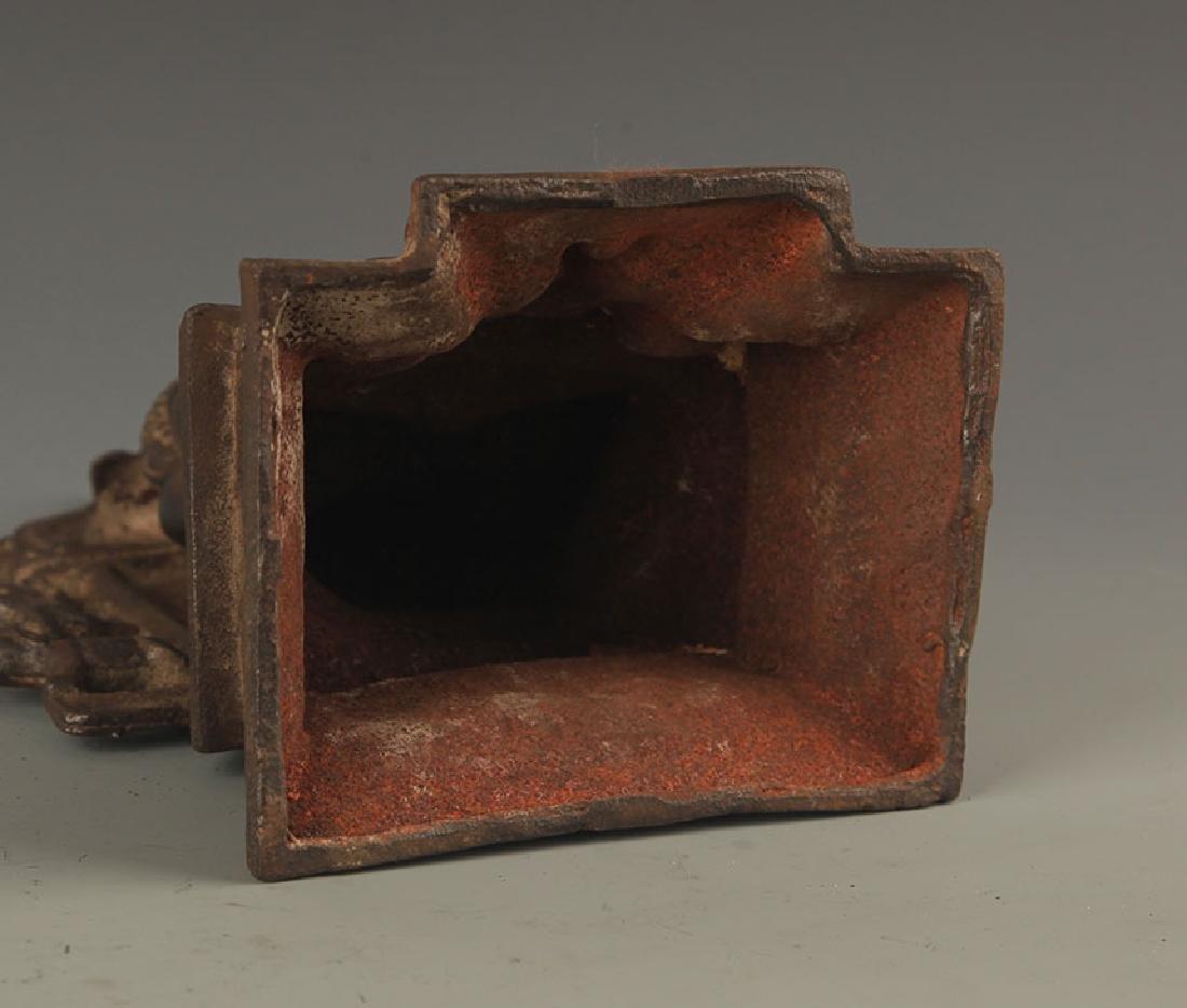 A CAST IRON AKSHOBHYA BUDDHA STATUE - 5