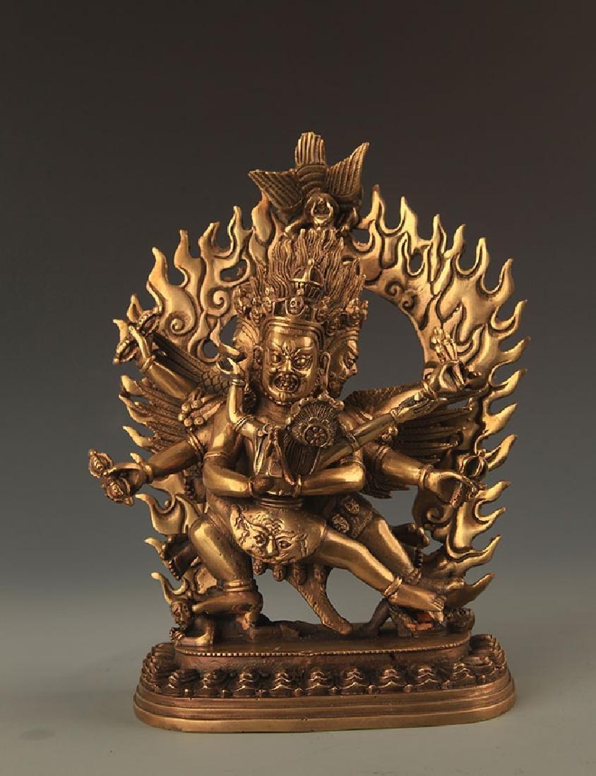 TIBETAN BUDDHISM BRONZE KALACHAKRA STATUE