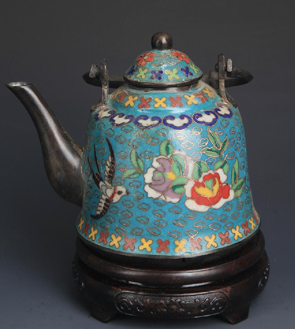 CLOISONNE ENAMEL FLOWER AND BIRD PAINTED WATER POT