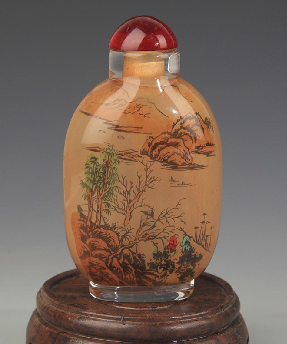 AN INNER LANDSCAPE PAINTING GLASS SNUFF BOTTLE