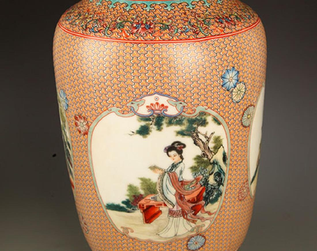 FAMILLE ROSE WITH TURQUOISE GROUND DECORATION JAR - 2