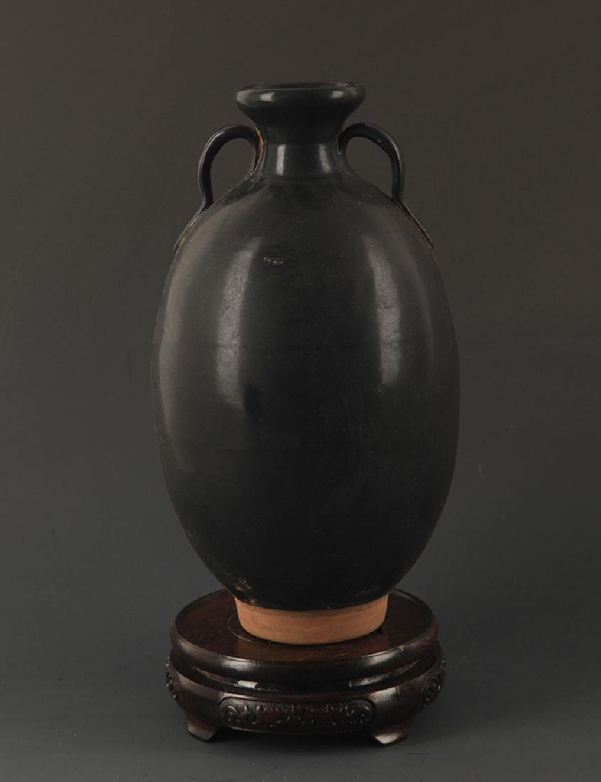 A BLACK GLAZED TWO TILE JAR - 5