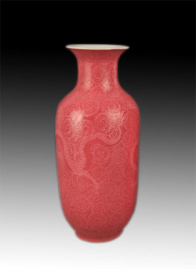 A ROUGH RED COLOR GLAZED DRAGON VASE