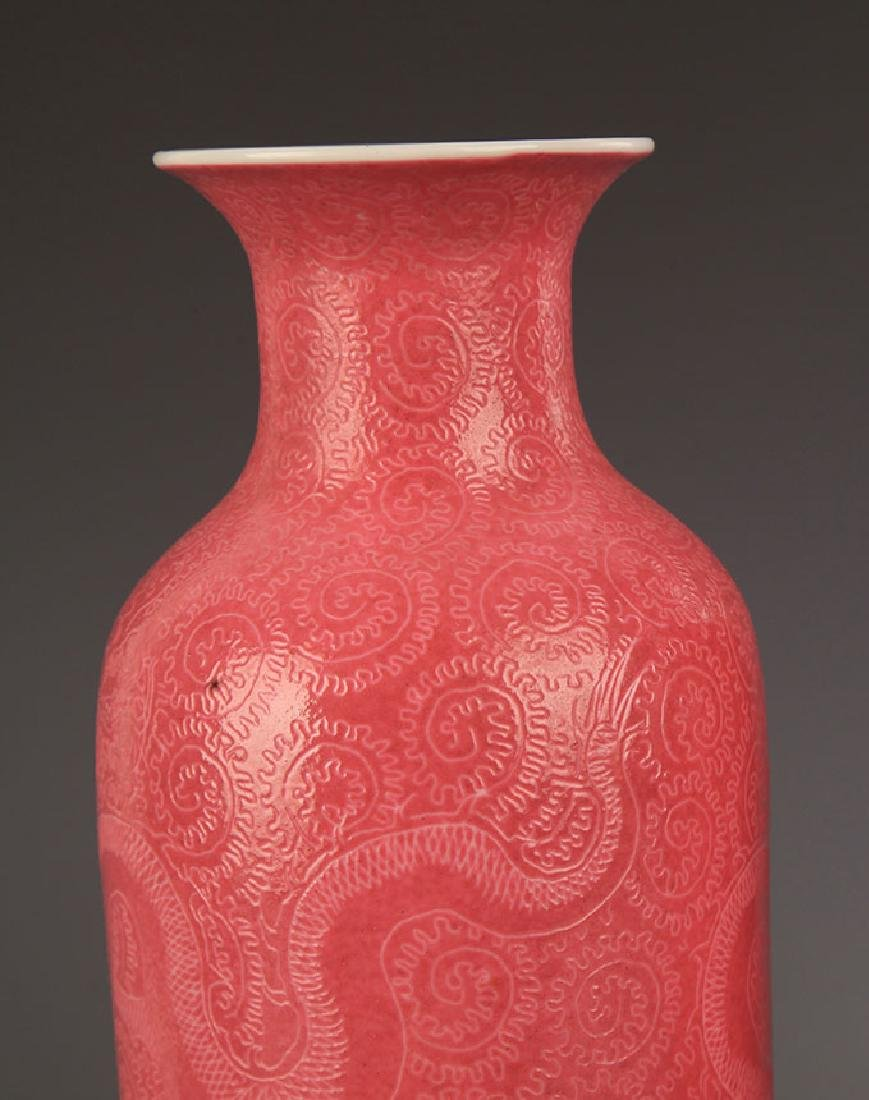 A ROUGH RED COLOR GLAZED DRAGON VASE - 2