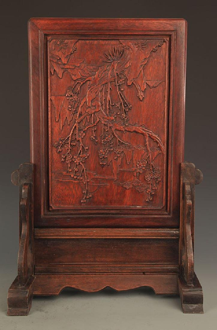 A HUA LI MU MAGPIES CARVING TABLE PANEL