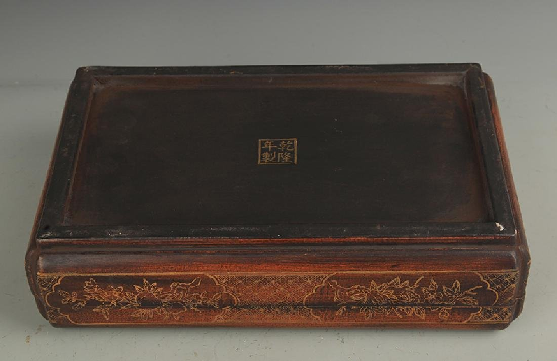 A GILT LACQUER HAPPINESS WOODEN BOX WITH COVER - 4