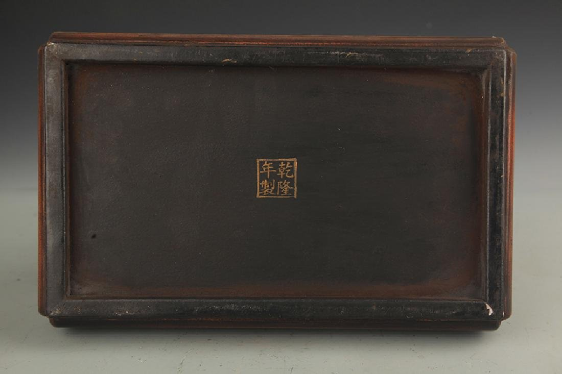 A GILT LACQUER HAPPINESS WOODEN BOX WITH COVER - 5