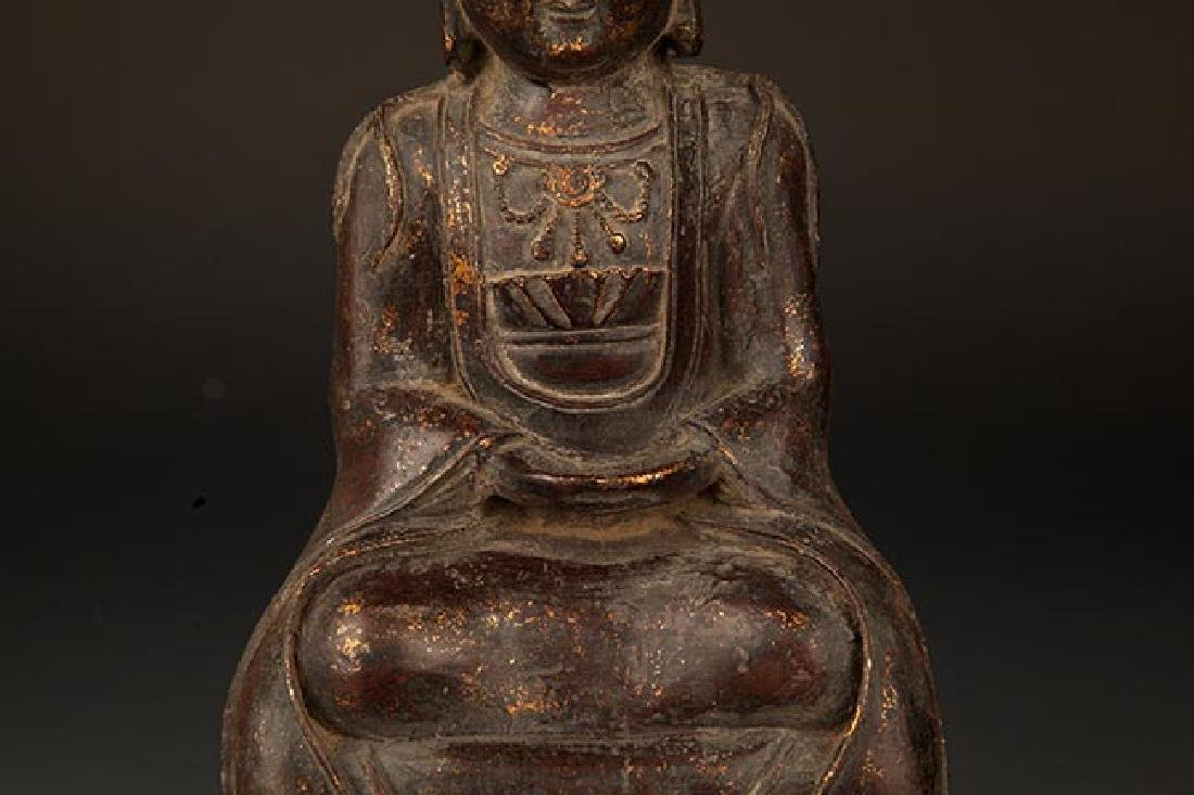 A FINELY CARVED BRONZE GUAN YIN BUDDHA - 3