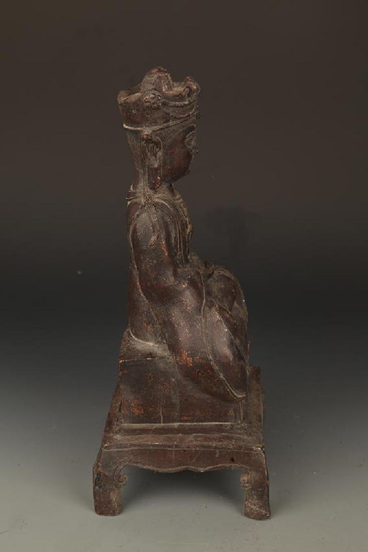 A FINELY CARVED BRONZE GUAN YIN BUDDHA - 5