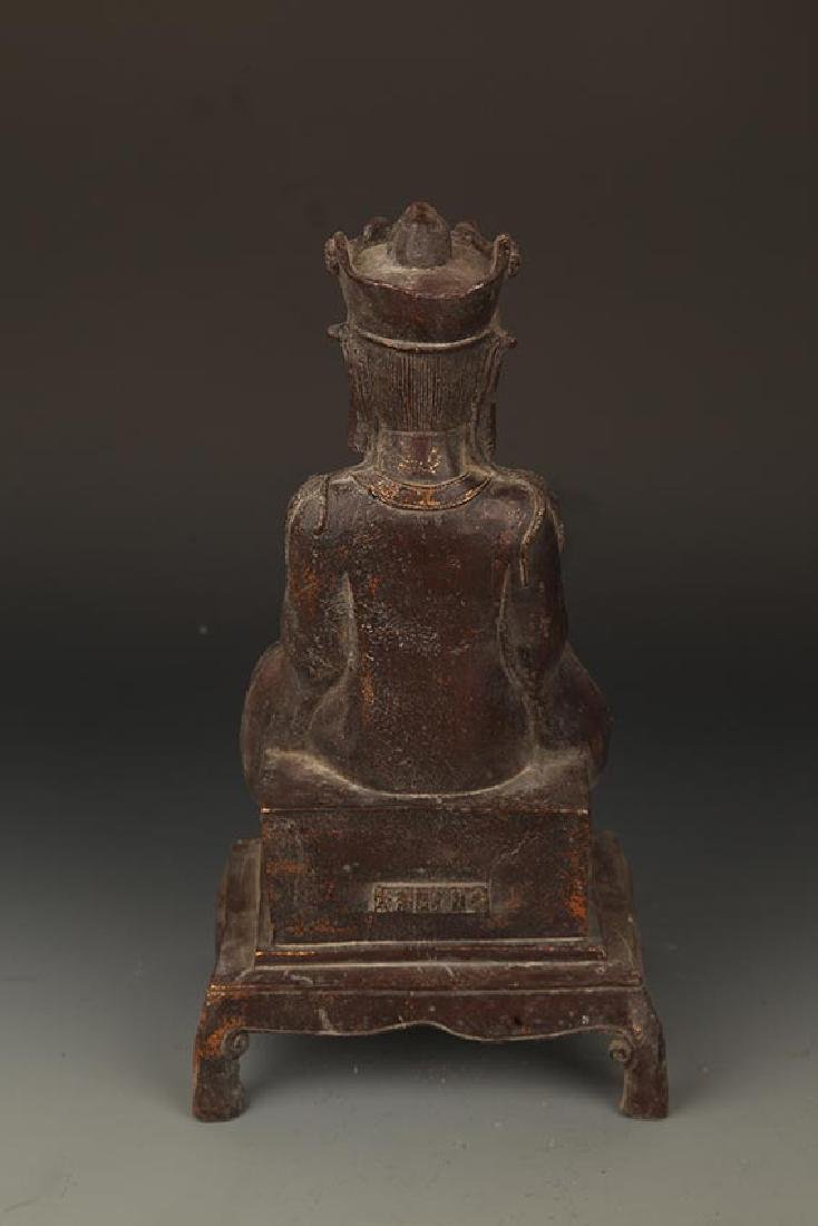 A FINELY CARVED BRONZE GUAN YIN BUDDHA - 6