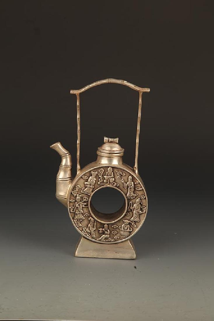 A FINELY CARVED ROUND BRONZE WATER BOTTLE