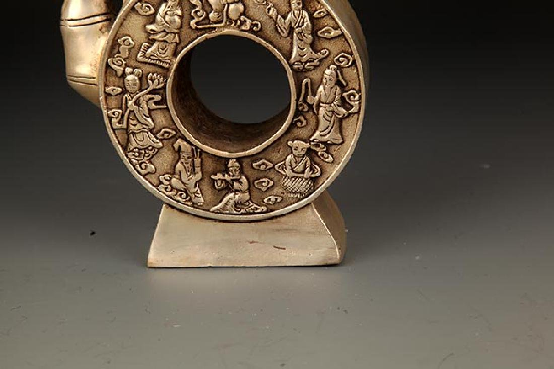 A FINELY CARVED ROUND BRONZE WATER BOTTLE - 4