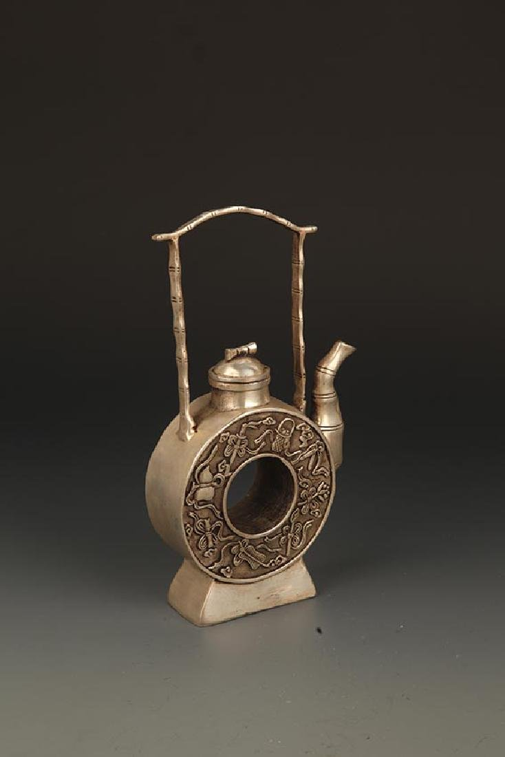 A FINELY CARVED ROUND BRONZE WATER BOTTLE - 5