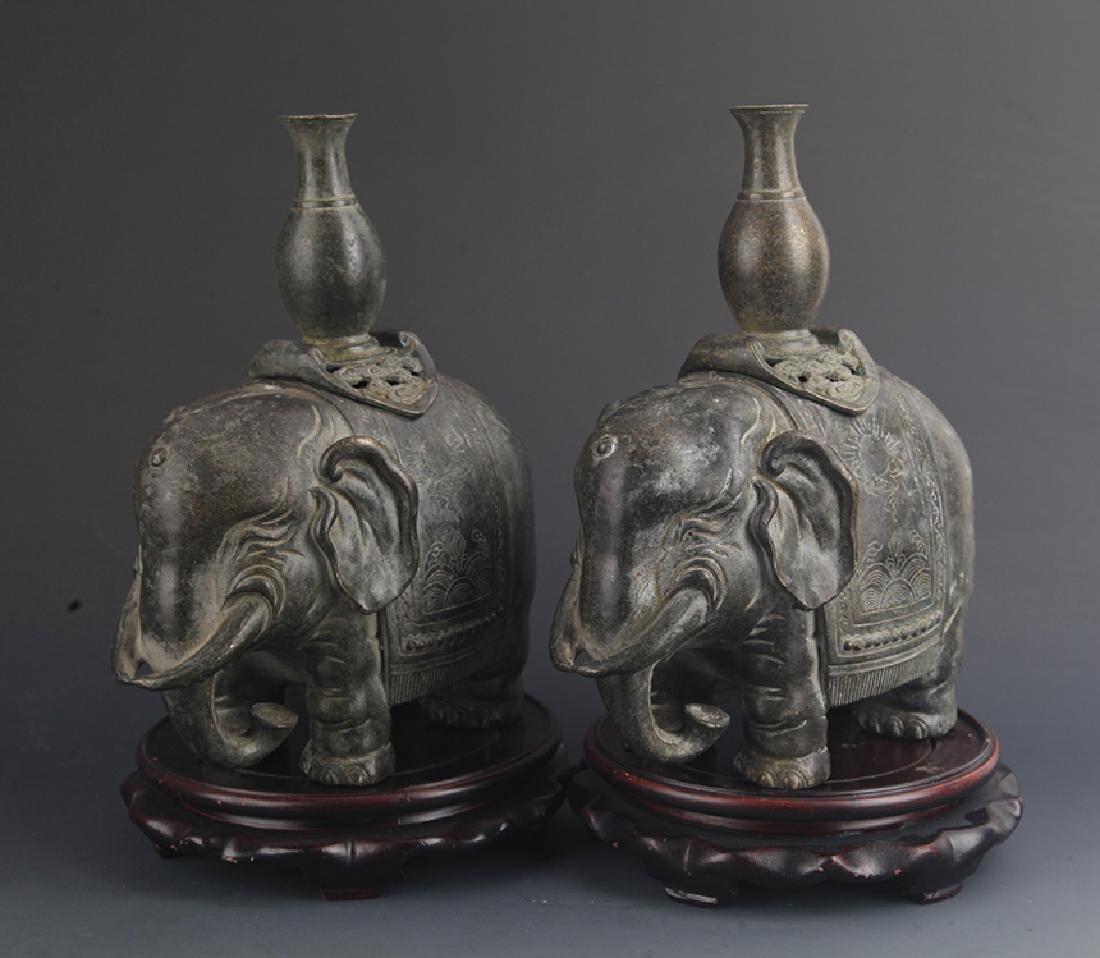 PAIR OF BRONZE ELEPHANT FIGURE CANDLESTICK