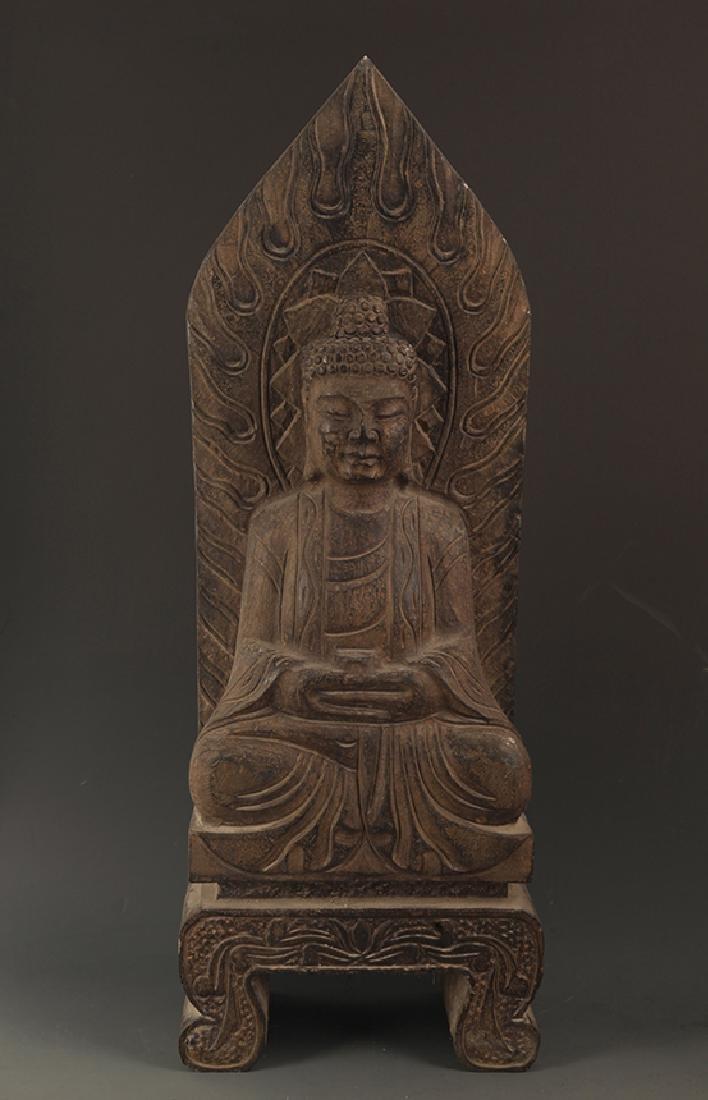 A LARGE STONE PHARMACIST BUDDHA STATUE