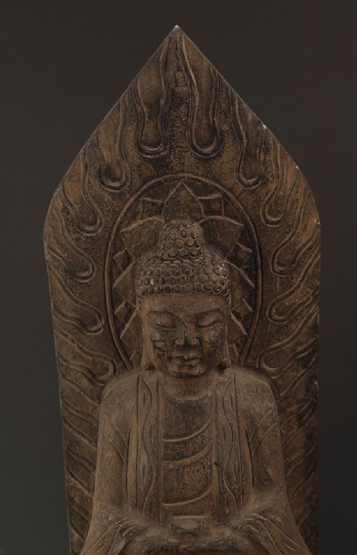 A LARGE STONE PHARMACIST BUDDHA STATUE - 2