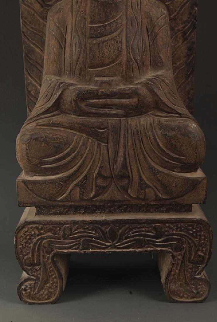 A LARGE STONE PHARMACIST BUDDHA STATUE - 3