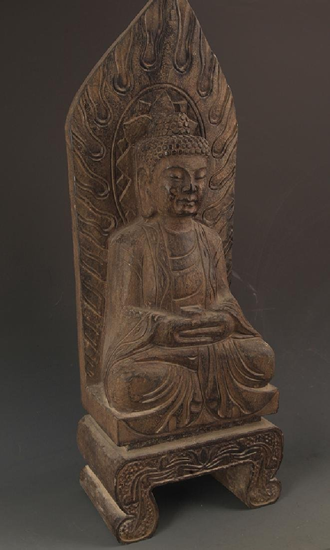 A LARGE STONE PHARMACIST BUDDHA STATUE - 4