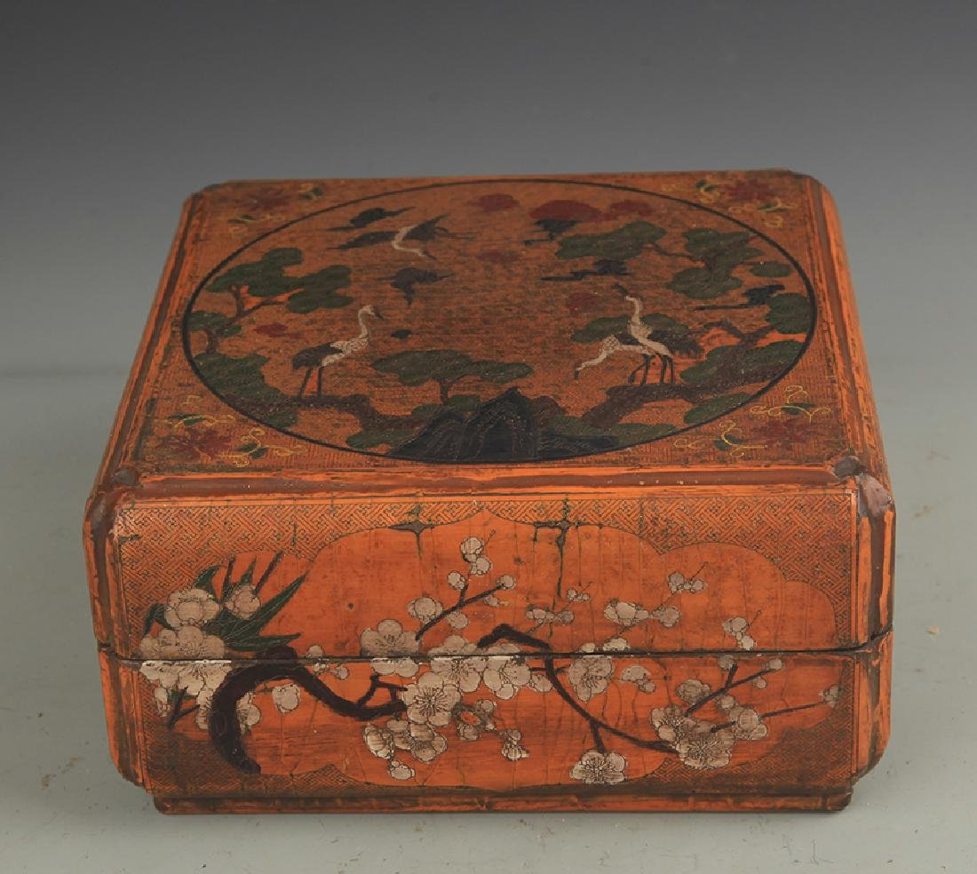 A GILT LACQUER PINE TREE PAINTING WOODEN CHEST
