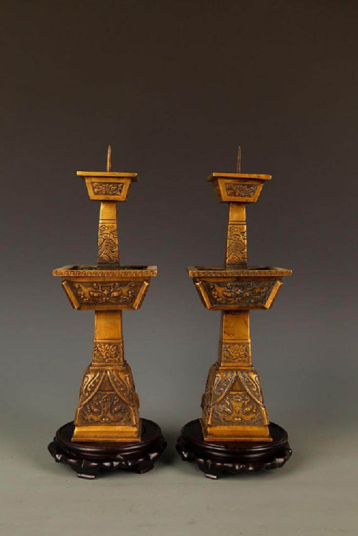 PAIR OF FINE DRAGON FIGURE BRONZE CANDLE STICK