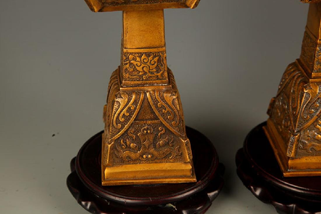 PAIR OF FINE DRAGON FIGURE BRONZE CANDLE STICK - 5