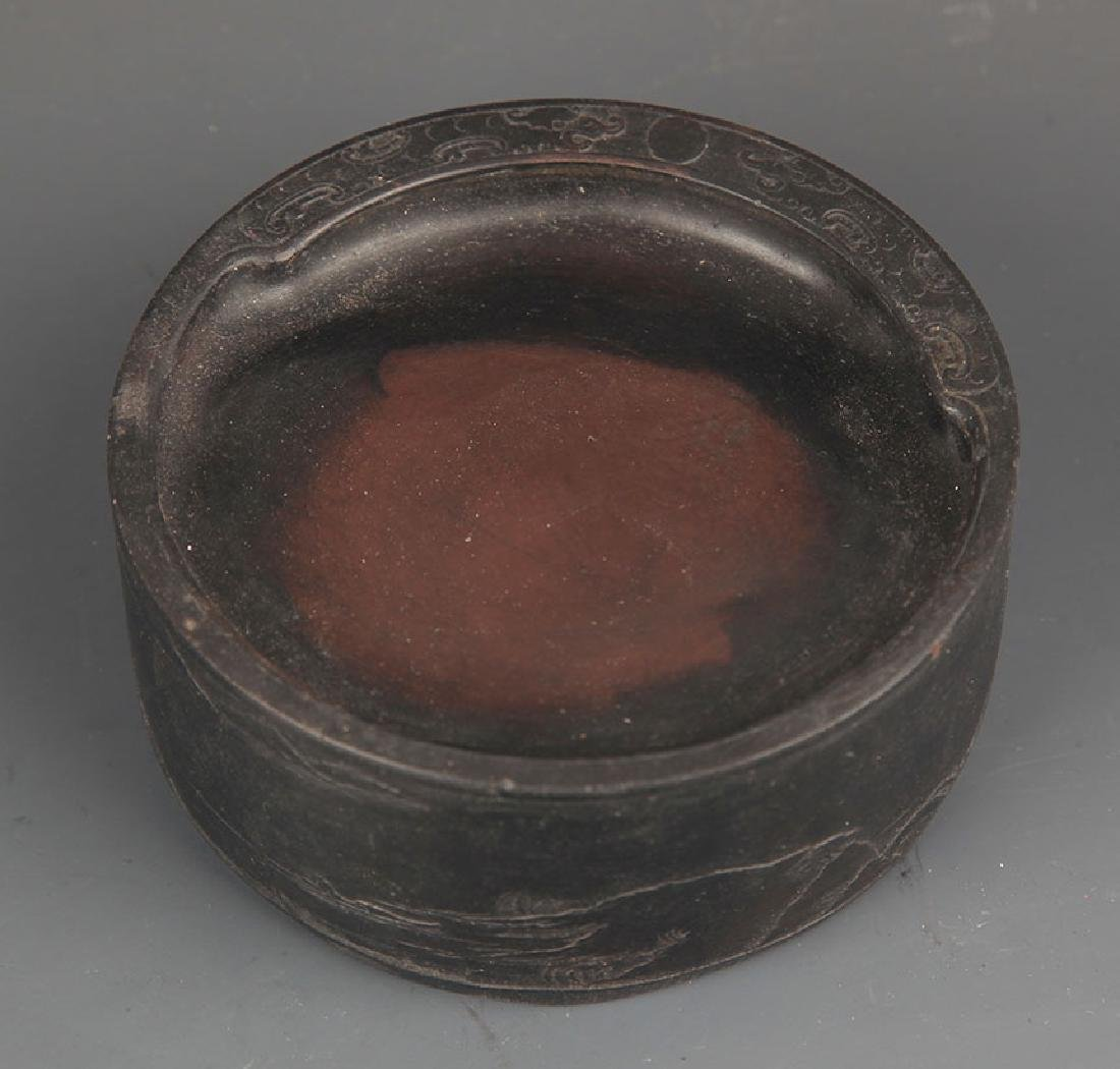 A FINELY CARVED ROUND INK STONE - 2