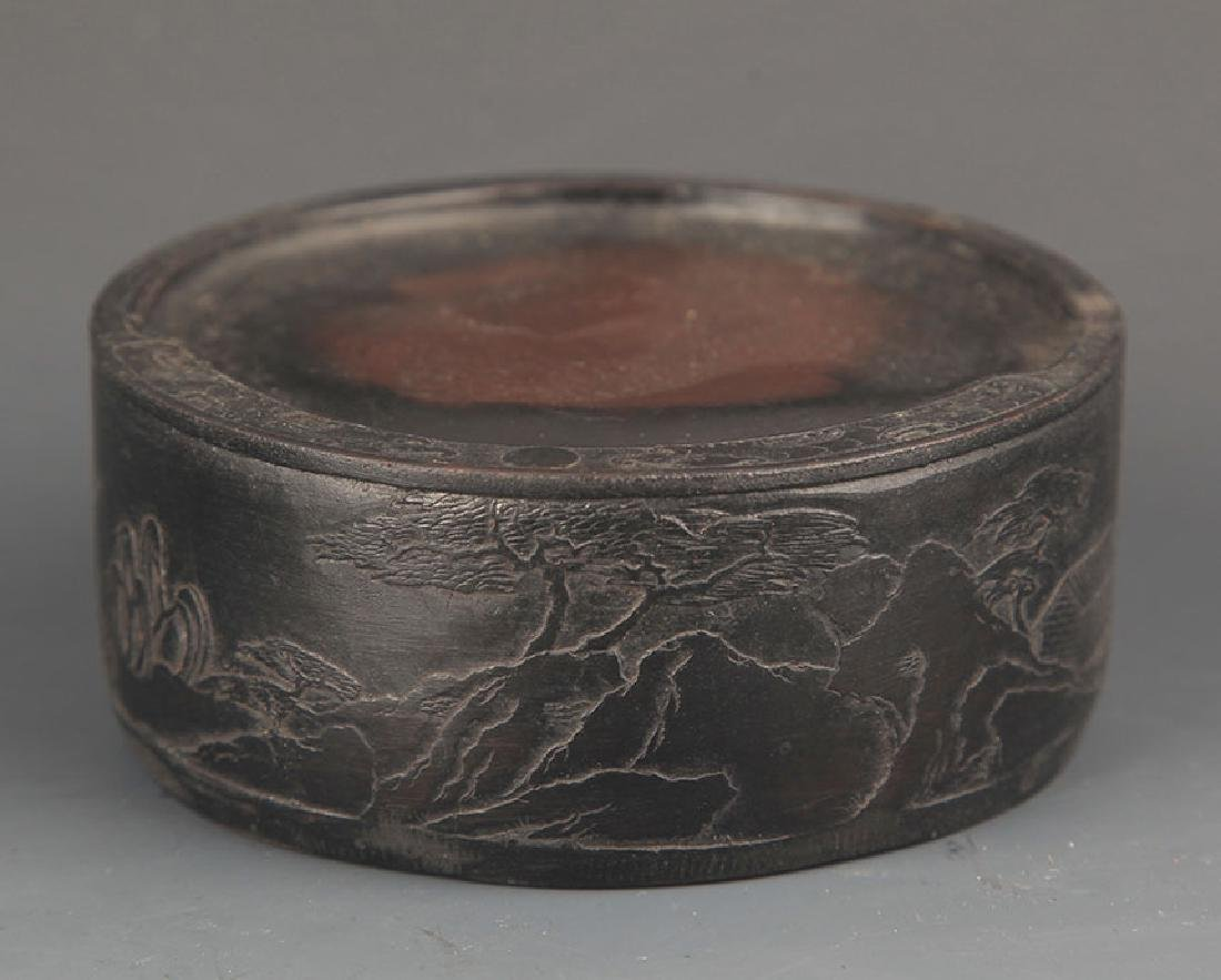A FINELY CARVED ROUND INK STONE - 3
